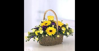 Purple & Gold Basket Arrangement